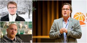 Noel Filén-Hammarström, Joakim Brunnström och Olle Lundén hade ett första möte nu i december. Under 2019 ska basketförbundet ta ställning i frågan om Noel kan spela basket i framtiden. Foto: Mattias Holgersson/Mittmedia, TT och Bildbyrån.