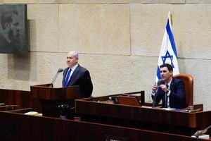 Israels premiärminister Benjamin Netanyahu presentera den nya regeringen i parlamentet (knesset).