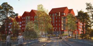 Debatten om höghusen fortsätter. Arkitekt Gunnar Mattsson uppmanar kommunen att dra i nödbromsen. Fotomontage: Arcum för Leksands kommun
