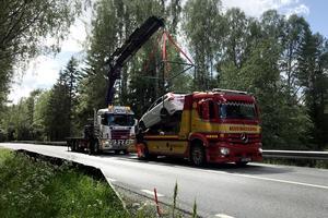 Bilen som var inblandad i olyckan bärgades senare på lördagen.