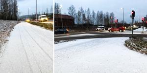 Snön kan göra vägarna förrädiska framåt kvällen.
