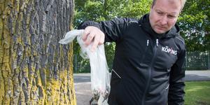 Anders Eriksson handskas ogärna med påsen som innehåller giftpluggarna. Ämnet Glyfosat är bevisat giftigt och enligt bland andra WHO troligen cancerframkallande.