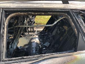 Resterna av branden. Foto: Robin Pykkö