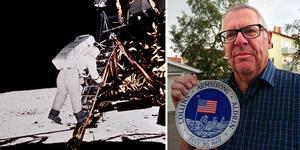 Gunnar Holm, till höger, har en kvar en minnestallrik som såldes vid månlandningen –69. På bilden till höger ses Buzz Aldrin klättra ned på stegen mot det stora målet: månen.