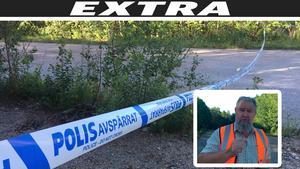 Området där den döda mannen påträffades var på måndagsmorgonen avspärrat.