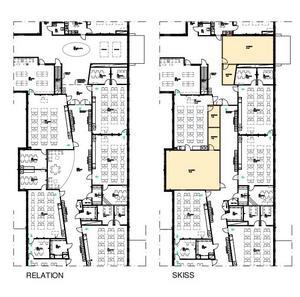 Ritningar över Hidinge skola. Den vänstra visar hur skolan ser ut idag.  De gulmarkerade rummen till höger visar de två nya klassrummen och grupprummen som ska byggas. Skiss: Lekbergs kommun