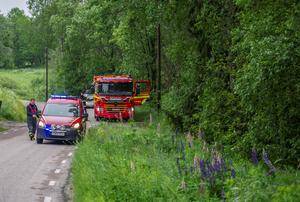 Räddningstjänsten ryckte ut efter larm om ett jordskred i Fagersta. Foto: Niklas Hagman
