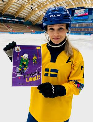Bandystjärnan tillsammans med boken. Linnéa Larsson avslöjar även att det kan bli en uppföljare.