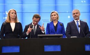 Alliansparternas fyra ledare: Annie Lööf (C), Ulf Kristerson (M), Ebba Busch Thor (KD och Ja Björklund (L).