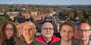 Kommunstyrelsens arbetsutskott i Fagersta. Åsa-Märta Sjöström (S), Bertil Fredriksson (SD), Hans Granlund (V), Marino Wallsten (S) och Jan Johansson (M).