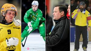 Philip Lennartsson, Adam Gilljam, Patrik Johansson och Ulrik Bergman – fyra personer som eftersnacket kom att handla om efter den första kvartsfinalen mellan Hammarby och Vetlanda. Bilder: TT/Bandypuls.