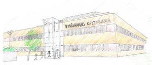 Kulturskolan ska också få plats i byggnaden, enligt Liberalernas idé. Illustration: Liberalerna i Nynäshamn