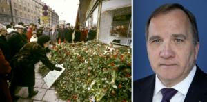 Stefan Löfven höll en presskonferens med anledning av mordet på Olof Palme.