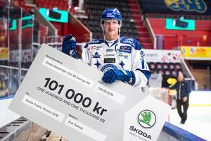 Leksands kapten Martin Karlsson med prischecken efter seger i turneringen Skoda Trophy 2018. Foto: Dennis Ylikangas / Bildbyrån