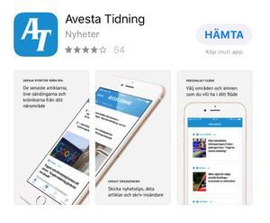 """Det går snabbt att ladda ned vår nyhetsapp. Du hittar den hos App Store eller Google Play. Sök på """"avestatidning.com""""."""