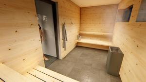 Bastu kommer också att finnas. Bild: Johan Skoog arkitektkontor.
