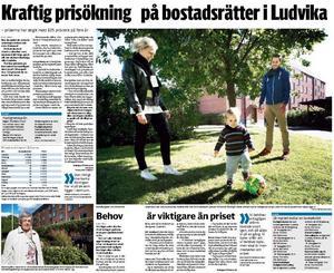 I början på september hade Nya Ludvika Tidning en artikel om de kraftigt stigande priserna på bostadsrätter i Ludvika. Då hade Christoffer Johansson och Sara Bergsten (bilden) ännu inte bestämt sig för att sälja lägenheten på Skolgatan.