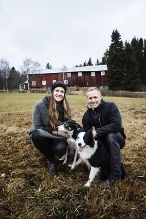 Anna och Daniel Fahlgren tillsammans med hundarna Gill och Mixa.