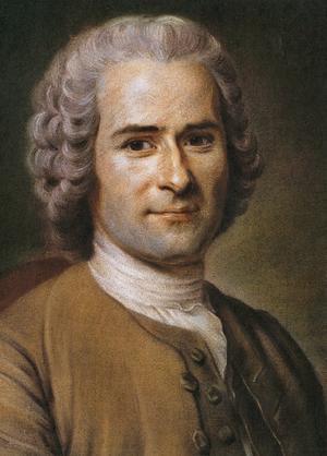 Den schweiziske filosofen Jean-Jacques Rousseau .Målning av Maurice Quentin de La Tour  från andra hälften på 1700-talet.