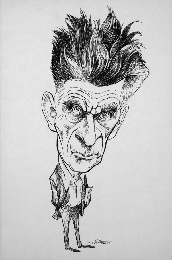 Edmund S. Valtmans karikatyr av Samuel Beckett från 1969.