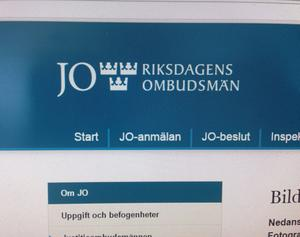 Justitieombudsmannen (JO), eller Riksdagens ombudsmän som är det officiella namnet, granskar att myndigheterna arbetar enligt de lagar och regler som styr deras arbete – särskilt sådana lagar som berör enskildas rättigheter och skyldigheter i förhållande till det allmänna. Bild: Arkiv