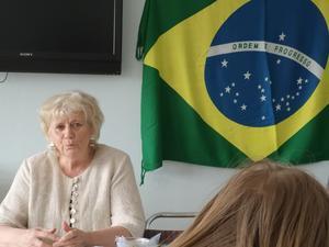 Margareta Winberg ledde årsmötet i Jämt-Brasilianska vänskapsföreningen. Foto: Siv Gahlin