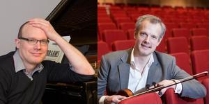 Pianisten Johan Fröst och altviolinisten Göran Fröst spelar i Equmeniakyrkan i Söderhamn på lördag. Montage/arkivbilder