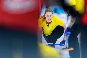 Sara McManus hade flera fina stenar under matchen mot Storbritannien. Foto: Carl Sandin / BILDBYRÅN.