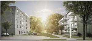 Boklok, som drivs av Ikea och Skanska, vill bygga fem hus med fyra våningar som ska ge totalt 92 lägenheter, där alla ska ha tillgång till egen balkong och en parkeringsplats per lägenhet. Skiss: Boklok