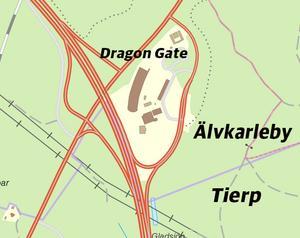En karta över kommungränsen vid Dragon Gate. Kommungränsen är utmärkt med lila. Bild: Trafikverket/Montage