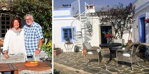 Det vitkalkade huset med blå knutar och dörrar är ett av flera gamla hustyper med en takterrass som tidigare har använts som torkställe för till exempel frukt.