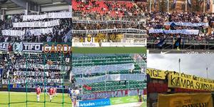 Supporterklubb efter supporterklubb visade solidaritet med Patronerna under lördagen. Foto: Twitter (kollage).