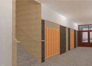 Tegelväggar och skåp blir inslag i den nya högstadiedelen. Bild: Archus Arkitektur