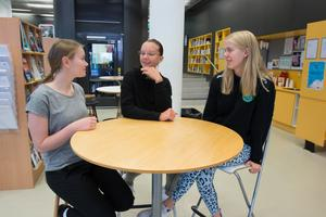 """Caroline Svensson, Linn Markstedt Johansson och Ebba Wolfbrandt går första året på teknikprogrammet på Wijkmanska gymnasiet. I deras klass går enbart 8 tjejer av totalt 51 elever. """"Jag valde teknik för att jag gillar matte och NO, jag gillar fakta och inte resonera så mycket"""", säger Ebba Wolfbrandt och berättar att hennes föräldrar jobbar inom teknikbranschen."""