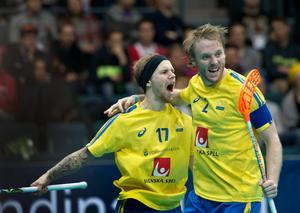 Rasmus Enström och Johan Samuelsson blir lagkamrater från och med nästa säsong i IBF Falun. Foto: Björn Larsson/TT