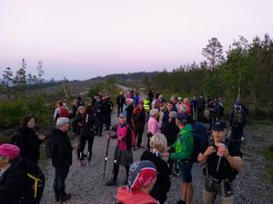 Deltagarna vid Nattvandringen som stannat för paus vid skogsbilvägen ovanför Nötbolandet. Foto: Jörgen Hållberg