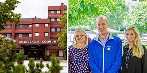Alicja Kapica (M), Stefan Falk (L) och Liza-Maria Norlin (KD) leder oppositionen i Sundsvalls kommun. Bilder: Arkiv / Pontus Hellsén