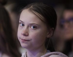 Greta Thunberg är den sista personen i boken. AP Photo/Michael Probst