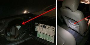 En tablett hittades i tanklocket på bilen. I en stolsficka hittades påsar med amfetamin. Bilder från polisens förundersökning.