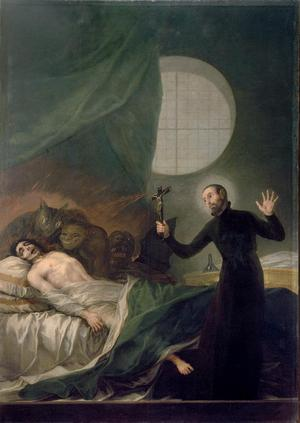 Franciskus Borja förättar en exorcism. Målning av Francisco Goya från 1788.
