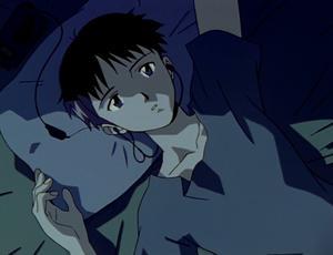 Huvudpersonen  Shinji lider i sin ensamhet och har svårt att knyta an till andra människor. Foto: Gainax