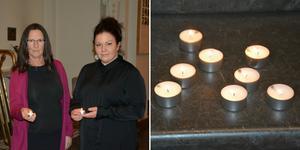 Ingrid och Maarit mindes sina bortgångna söner under lördagens minnesgudstjänst.