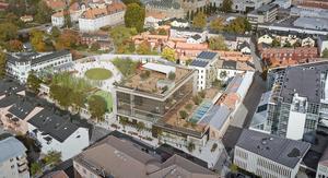 Illustration av det tänkta kvarteret med högstadieskola och parkeringsdäck vid nuvande Klippans parkering. Bild: Archus Arkitektur