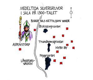 Medeltida gruvor inom storgruveområdet upptagna på 1300-talet. Biskopsgruvan mitt emot Aspenstorp var den första som togs upp under ledning av katolske biskopen Nils Kettilsson Whide. Runt gruvorna bodde gruvarbetarna i Nyby by. Illustration Bo Svärd