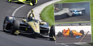 Både Felix Rosenqvist (överst) och Fernando Alonso (underst) kraschade hårt under onsdagens tidsträningar i Indianapolis. Marcus Ericsson (stora bilden) klarade sig bättre. Foto: James Black/Indycar, Faksimilier: NBC