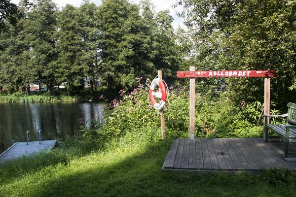 Koloniföreningen har en egen badplats vid Testeboån.