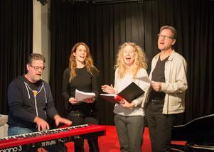 Teater Soja (Kettil Medelius, Malin Berglund, Sofia Andersson och Jan Boholm) sjunger ut inför årets julrevy – teatergruppens första.– Det är ju helt nytt för oss, och det är spännande, säger Jan Boholm.
