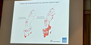 De moderna högre vindkraftverken går att få lönsamma på fler platser i landet jämfört med de gamla lägre. Sverigekartan till vänster visar var det blåser 7,2 meter per sekund eller mer på 100 meters höjd. Kartan till höger visar var det blåser 7,3 meter per sekund eller mer på 140 meters höjd. Källa: Energimyndigheten/Naturvårdsverket