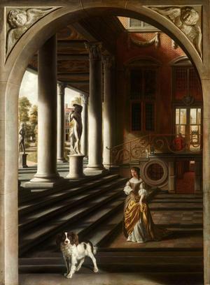 Så här kan Anne Conway ha sett ut och levt omgiven med hund och katt (för henne var skillnaden mellan människa och djur bara en gradfråga). Målning Samuel Van Hoogstraten från 1650.