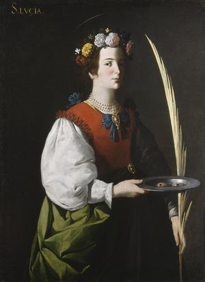 Helgonen Sankta Lucia. Målning av Francisco de Zurbarán från 1640.